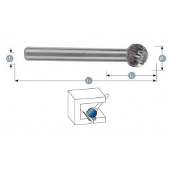 Φρεζάκι καρβιδίου 2.5 x 3 x 38 mm ''KUD'' S3