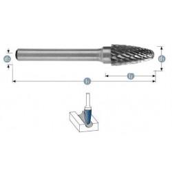 Φρεζάκι καρβιδίου 3 x 3 x 38 mm ''RBF'' S3